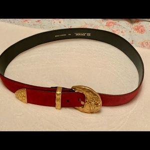 Escada suede red & gold belt | vintage Escada